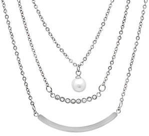 Steel by Design Stainless Steel Layered Simulated Pear l Necklace