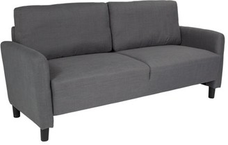 Candler Park Flash Furniture Upholstered Living Room Sofa with Extended Side Panels and Rounded Arms in Dark Gray Fabric