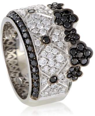 Lulu Pasquale Bruni 18K White Gold Black and White Diamond Band Ring Size 7.0