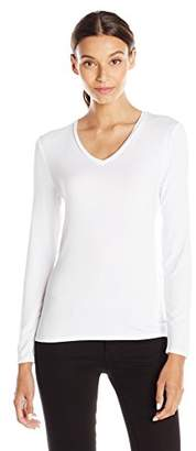 Lark & Ro Women's Long Sleeve Super Soft V-Neck T-Shirt