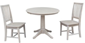 "INC International Concepts 36"" Round Dining Table with 12"" Leaf and 2 Mission Chairs, Washed Gray Taupe, 3 Piece Set"