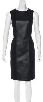 Akris Punto Faux Leather-Accented Wool Dress