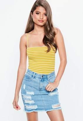 Missguided Mustard Stripe Straight Neck Bodysuit