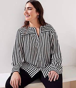 LOFT Plus Mixed Stripe Puff Sleeve Blouse