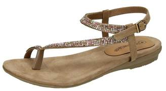 Leather Collection Womens/Ladies Y Strap Toe Loop Sandals with Diamante Trim