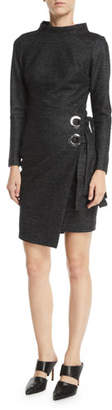 Badgley Mischka Long-Sleeve Wrap-Front Grommet Dress