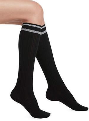 Hue Metallic Striped Top Cable Knee Socks