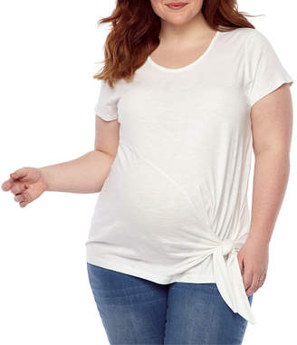 BELLE + SKY Belle & Sky Maternity Round Neck Side Tie Tee - Plus