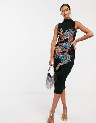 Dragon Optical Asos Design ASOS DESIGN embroidered polo neck rib midi dress
