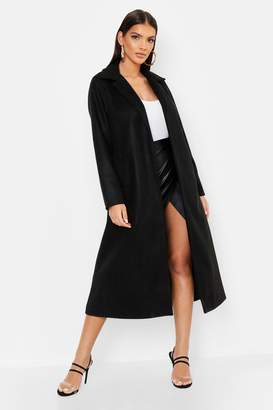 boohoo Longline Collared Wool Look Coat