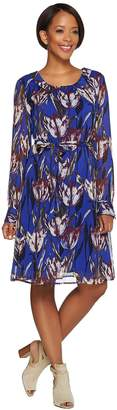 Isaac Mizrahi Live! Tulip Floral Chiffon Dress with Tie Belt