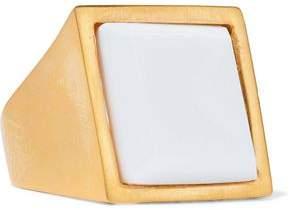 Kenneth Jay Lane Brushed Gold-Tone Resin Ring