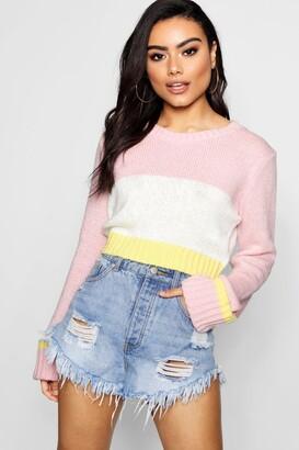 boohoo Soft Knit Colour Block Crop Jumper