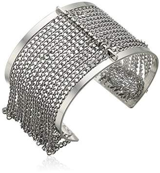 Steve Madden LESA MICHELE Cutout Open Cuff with Chain Bangle Bracelet