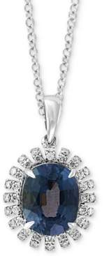 """Effy Gray Spinel (3-3/8 ct. t.w.) & Diamond (1/5 ct. t.w.) 18"""" Pendant Necklace in 14k White Gold"""