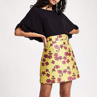 River Island Womens Yellow floral jacquard mini skirt