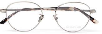 Bottega Veneta Round-Frame Brushed Silver-Tone Optical Glasses