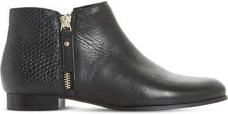 Dune Ladies Black Elegant Pander Textured Leather Ankle Boots