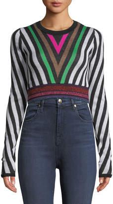 Diane von Furstenberg Chevron-Stripe Long-Sleeve Cropped Sweater