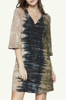 Viereck Tri Color Tie Dye Vneck Print Dress