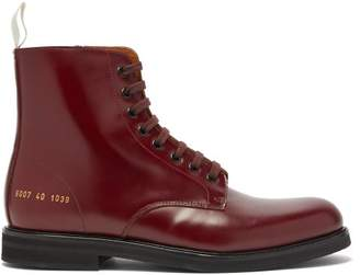 Common Projects Lace Up Leather Ankle Boots - Womens - Burgundy