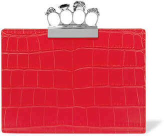 Alexander McQueen Knuckle Embellished Croc-effect Leather Clutch - Red