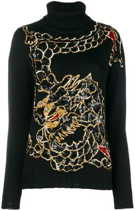P.A.R.O.S.H. sequin embellished dragon sweater