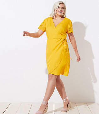 LOFT Plus Eyelet Sleeve Wrap Dress