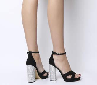 90e2497156b Office Hiccup Cross Vamp Platform Heels Black Diamante Heel