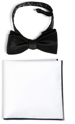 The Tie Bar Silk Satin Bow Tie & Cotton Pocket Square Set