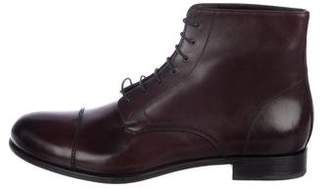 Prada Leather Cap-Toe Ankle Boots