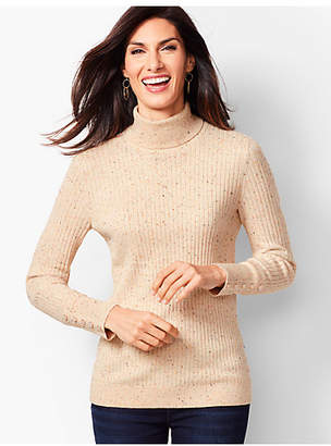 Talbots Button-Cuff Ribbed Turtleneck Sweater - Donegal