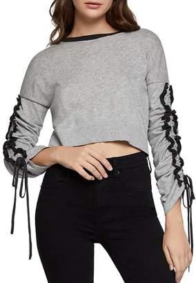 BCBGeneration Ruffle-Sleeve Cropped Sweater