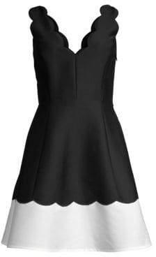 Kate Spade Women's Scalloped Fit& Flare Dress - Black - Size 0