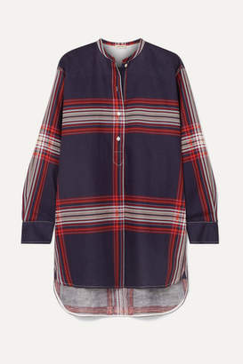 By Malene Birger Tilli Checked Linen And Cotton-blend Twill Top - Navy