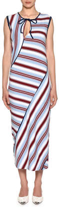 Marni Sleeveless Striped-Knit Ankle-Length Dress