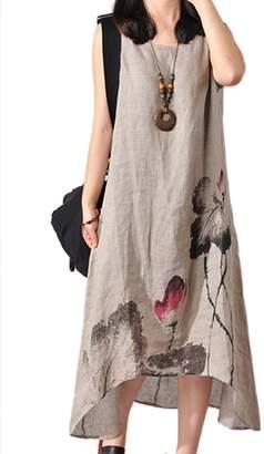 Zilcremo Women Vintage Sleeveless Asymmetric Loose Cotton Linen Maxi Dress Plus Size Grey L