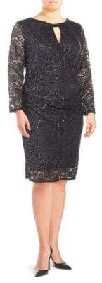 Marina Plus Lace Sequin Dress