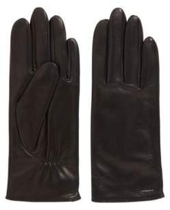 BOSS Elasticated gloves in nappa leather with logo hardware