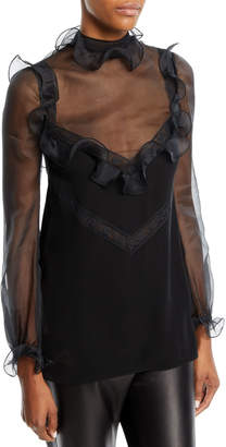Valentino Long-Sleeve Organza Blouse with Lace Insets & Ruffled Frills