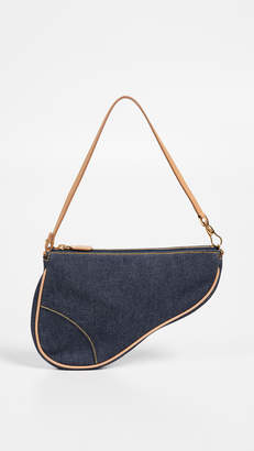 Christian Dior What Goes Around Comes Around Denim Saddle Mini Bag