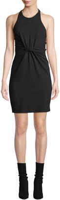 Alexander Wang High-Neck Twist-Front Jersey Halter Dress