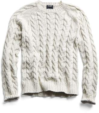 Todd Snyder Cotton Cable Crewneck Sweater in Cream