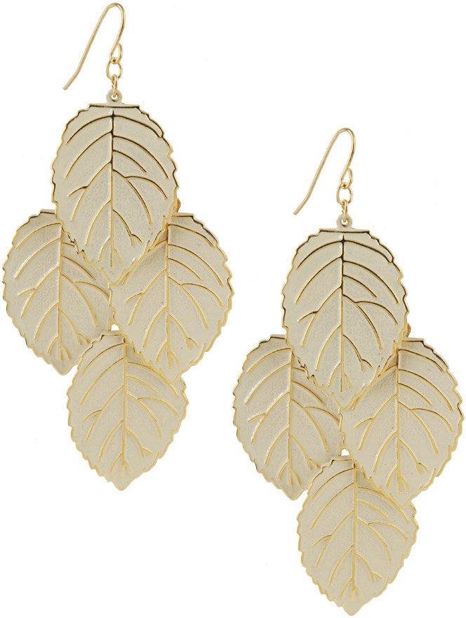 Lacquered Leaf Dangle Earrings