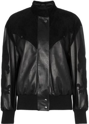 Montana embroidered panelled leather bomber jacket