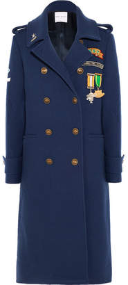 Mira Mikati Scout Patch Embellished Wool-blend Gabardine Coat - Navy