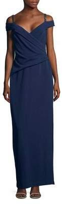 Lauren Ralph Lauren Embellished Cold-Shoulder Evening Gown