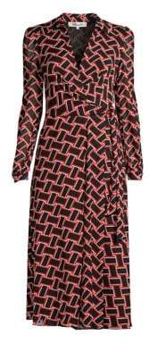 Diane von Furstenberg Women's Phoenix Wrap Shirt Dress - Vintage Weave Black - Size XS