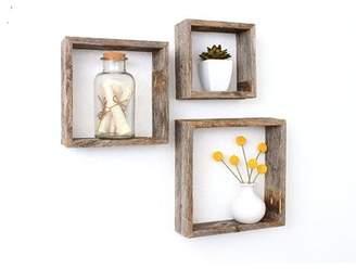 BarnwoodUSA Rustic Open Box 100% Reclaimed Wood 3 Piece Accent Shelf Set