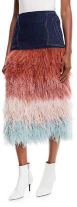 Johanna Ortiz A Visit To Fairyland Multicolor Tiered Ostrich-Feather & Denim Midi Skirt